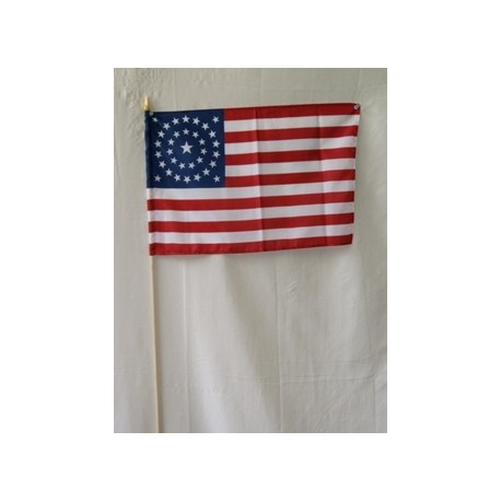 "USA 34 Star Circle Pattern 12""x18"" Stick Flag with 30"" Staff"