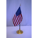 "Use 4""x6"" Stick Flag with Sewn Edge and Gold Spear"