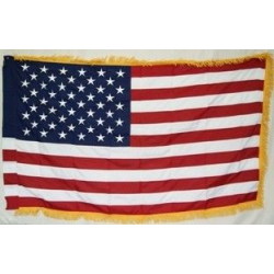 USA 3'x5' 2 Ply 600D Flag with Gold Fringe and Sleeve