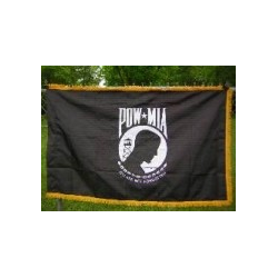 POW MIA Sleeve Gold Fringe Embroidered 3'x5'
