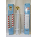 6' Sectional White Steel Flagpole Kit