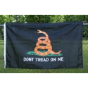 "Gadsden ""Don't Tread On Me"" Black Tactical 3'x5' Polyester Flag"