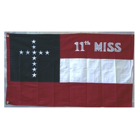 11th Mississippi Infantry Regiment CSA 3'x5' Cotton Flag