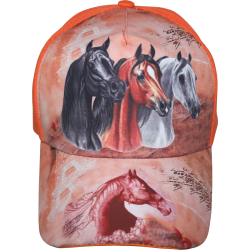 Horses Orange Printed Cap