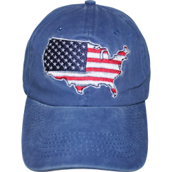 USA Map- Blue Washed Cap