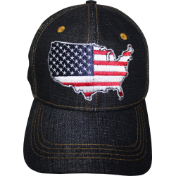 USA Map- Denim Cap