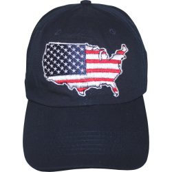 USA Map- Navy Blue Washed Cap