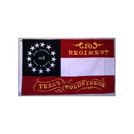 20th Regiment Texas CSA 3'x5' Cotton Embroidered Flag