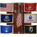 Indoor Marines Flag & Pole set with 3'x5' Nylon Printed with Fringe