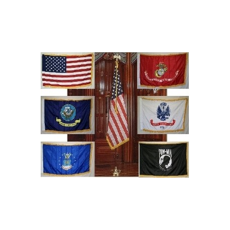 Indoor Flag & Pole set with 3'x5' Nylon Printed with Fringe