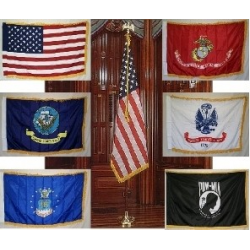 Indoor Army Flag & Pole set with 3'x5' Nylon Printed with Fringe