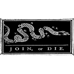 Join or Die Bumper Sticker, Black