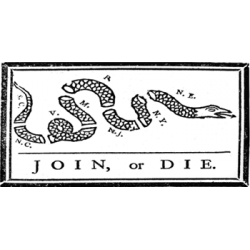 Join or Die Bumper Sticker, White